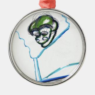 Meta Meta Imagery Round Metal Christmas Ornament