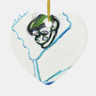 Meta Meta Imagery Double-Sided Heart Ceramic Christmas Ornament