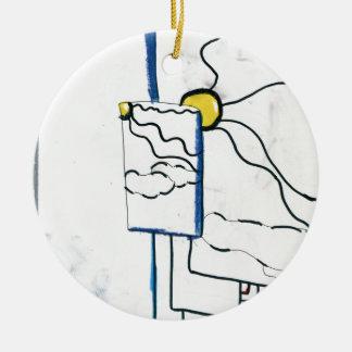 Meta Metaphysical Manga Meditaion Double-Sided Ceramic Round Christmas Ornament