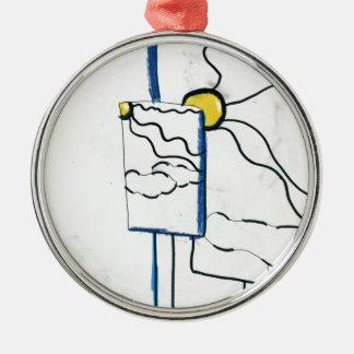 Meta Metaphysical Manga Meditaion Round Metal Christmas Ornament