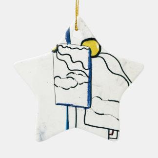 Meta Metaphysical Manga Meditaion Double-Sided Star Ceramic Christmas Ornament