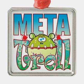 Meta Troll Square Metal Christmas Ornament