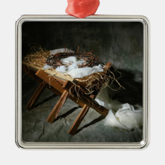 Metáfora de la historia del navidad adorno navideño cuadrado de metal