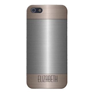 Metal 2 del acero inoxidable de la plata y del bro iPhone 5 carcasa