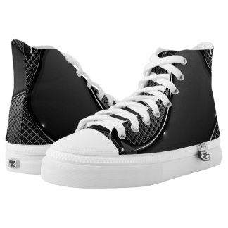 Metal Abstract Black Liquid High-Top Sneakers