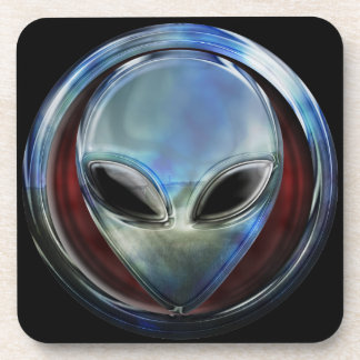 Metal Alien Head 03 Cork Coaster