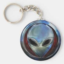 Metal Alien Head 03 Keychain