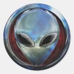 Metal Alien Head 03 Sticker