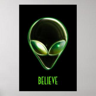 Metal Alien Head 04 Poster