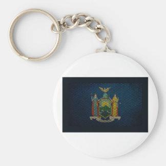 Metal ampliado bandera de Nueva York Llaveros