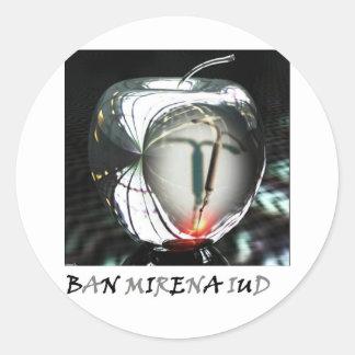 Metal Apple Ban Mirena IUD Classic Round Sticker