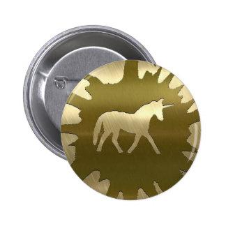 metal art golden unicorn 2 inch round button