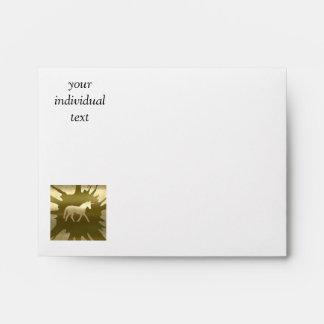 metal art unicorn golden envelope