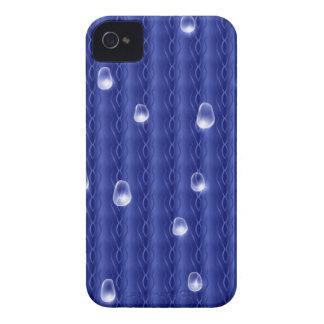 Metal azul con gotas de lluvia iPhone 4 Case-Mate cobertura