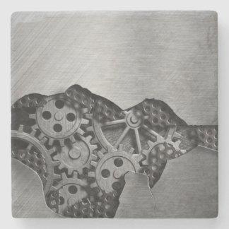 Metal background with mechanical damage stone coaster
