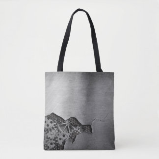 Metal background with mechanical damage tote bag