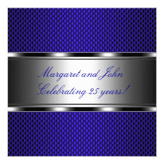 Metal Blue Silver 25th Anniversary Party Event Invitations