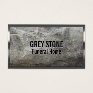 Metal Border Grey Stone Funeral Home Business Card
