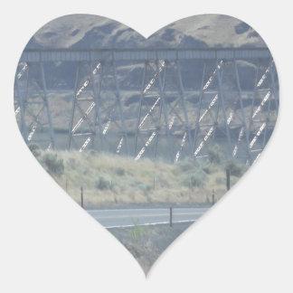 Metal Bridge Over River Heart Sticker