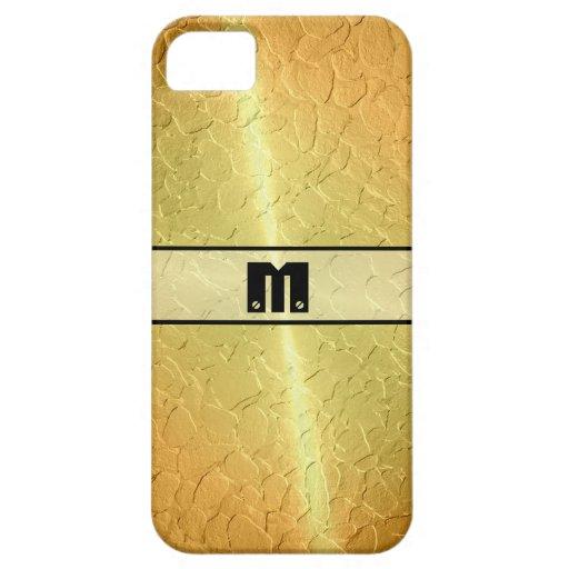 Metal brillante 2 del acero inoxidable del oro iPhone 5 Case-Mate cobertura