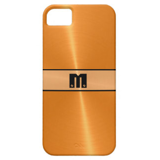 Metal brillante anaranjado 5 del acero inoxidable funda para iPhone 5 barely there