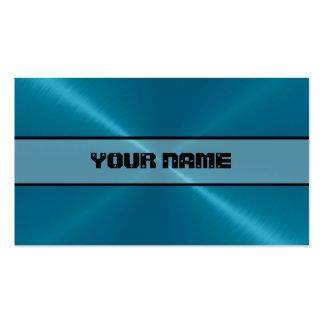 Metal brillante azul 4 del acero inoxidable tarjetas de visita