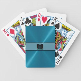 Metal brillante azul 5 del acero inoxidable baraja cartas de poker