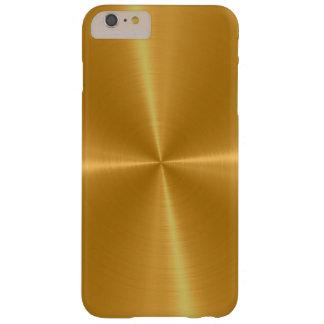 Metal brillante del acero inoxidable del oro funda de iPhone 6 plus barely there