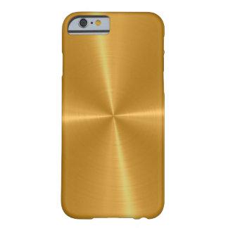 Metal brillante del acero inoxidable del oro funda para iPhone 6 barely there