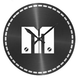Metal brillante gris del acero inoxidable reloj de pared