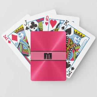 Metal brillante rojo 6 del acero inoxidable baraja cartas de poker