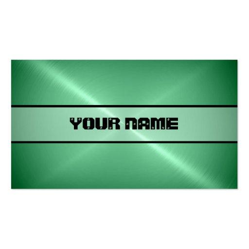 Metal brillante verde del acero inoxidable tarjetas de visita