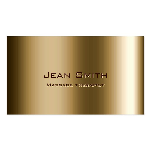 Metal Bronze Massage Therapist Business Card
