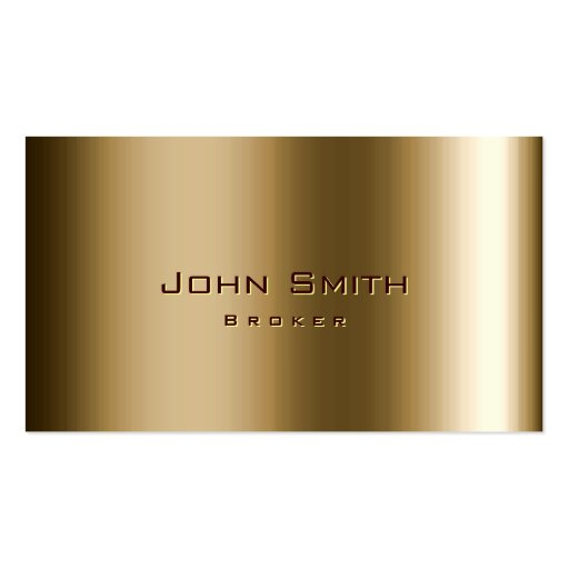 Metal Bronze Real Estate Broker Business Card