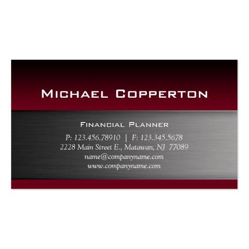 Metal Business Card Burgundy Red Header