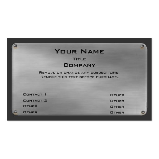 Metal Business Card II -silver- (front side)
