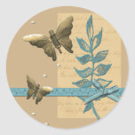 Metal Butterflies and Pearls Collage Classic Round Sticker