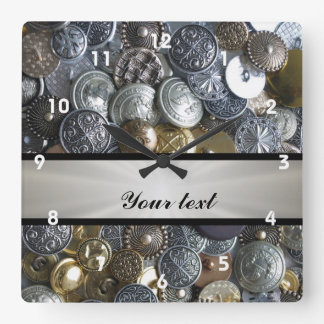 Metal Button Collection Square Wall Clock