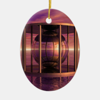 Metal Cage Floating In Water Ceramic Ornament
