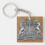 Metal Canada Coat of Arms Double-Sided Square Acrylic Keychain