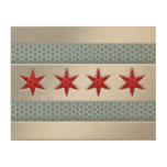 Metal cepillado bandera de Chicago falso Cuadros De Madera