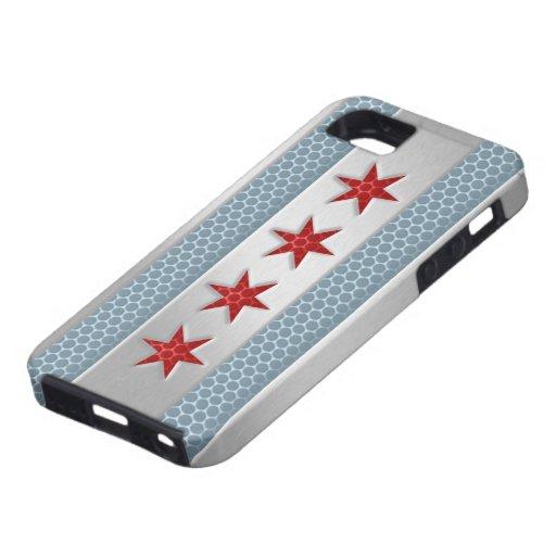 Metal cepillado bandera de Chicago iPhone 5 Protectores