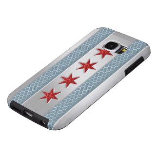 Metal cepillado bandera de Chicago Fundas Samsung Galaxy S6