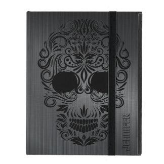 Metal cepillado negro de Monogramed, cráneo floral
