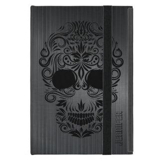 Metal cepillado negro de Monogramed, cráneo floral iPad Mini Cárcasas