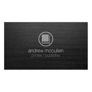 Metal cepillado oscuridad del icono del libro del tarjeta de negocio