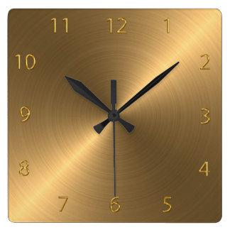 Metal cepillado pulido reloj cuadrado