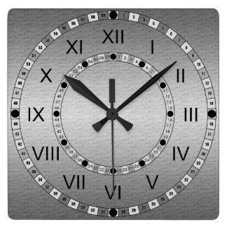Metal cepillado reloj cuadrado