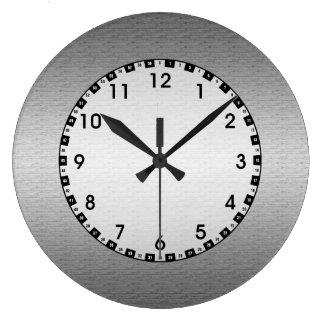 Metal cepillado reloj redondo grande