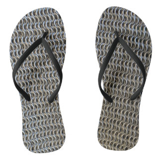 metal chain mail armor medieval knight fighter his flip flops